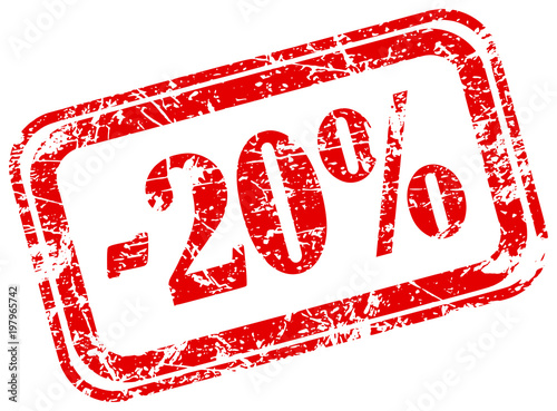 Fotografía 20 percent off marketing deal offering grunge red rubber stamp label isolated on