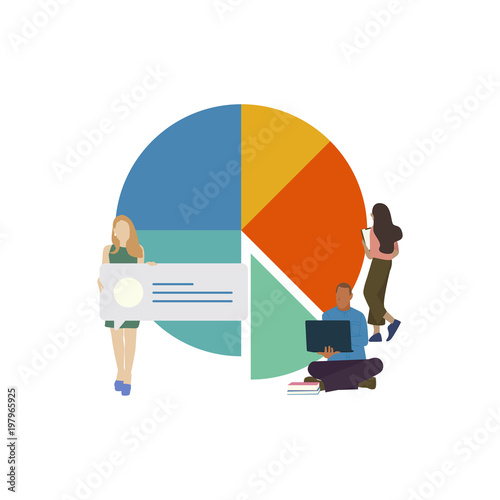 Pinturas sobre lienzo  Illustration of business people and chart