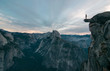 canvas print picture - Perhaps the best view of glacier point where this unknown adventurer dares to stand on the edge of a precipice