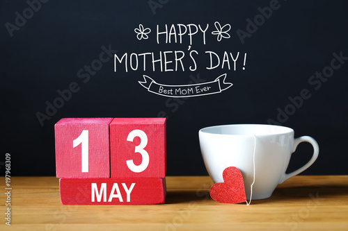 Poster Countryside Happy Mothers Day 13 May message with coffee cup with wooden blocks