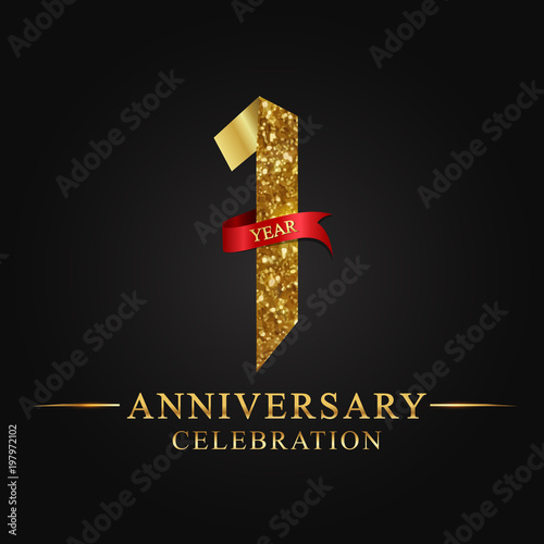 Obraz anniversary, aniversary, 1 year anniversary celebration logotype. Logo,ribbon golden number on black background.Numbers ribbon gold. - fototapety do salonu