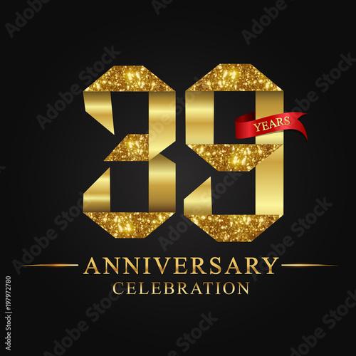 Poster  anniversary, aniversary,39 years anniversary celebration logotype
