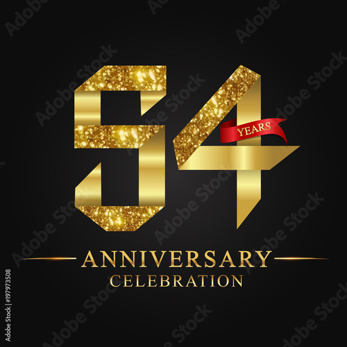 Photo anniversary, aniversary, 54 years anniversary celebration logotype