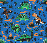 Fototapeta Dinusie - Cute cartoon dinosaurs seamless pattern in red, green and blue colors. Vector illustration