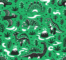 Cute Cartoon Dinosaurs Seamless Pattern In White, Green And Black Colors. Vector Illustration