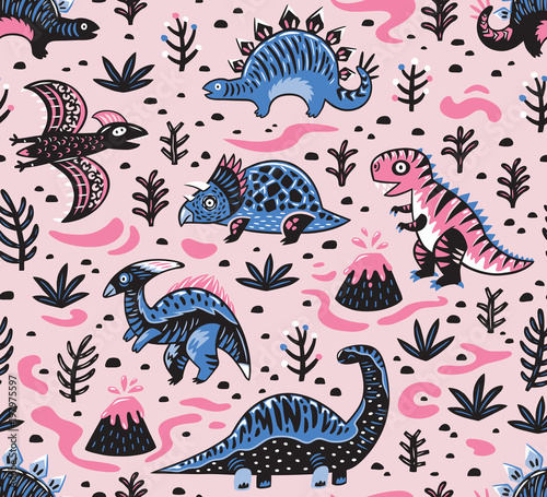 Cotton fabric Cute cartoon dinosaurs seamless pattern in pink and blue colors. Vector illustration