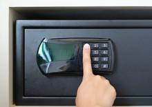 Female Hand Press Key On Safet...
