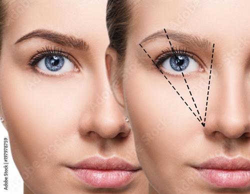 Fotografia Kobieca twarz przed i po korekcji brwi.