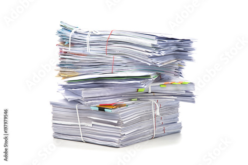 Stampa su Tela Stack of Documents isolated on white background. Documents pile.