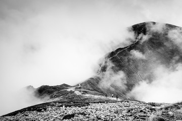 Fototapeta Do biura Autumn mountain landscape in black and white, Red Peaks in Tatra Mountains