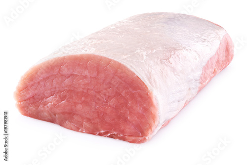 Photo  Raw pork loin isolated on white background. Fresh meat.