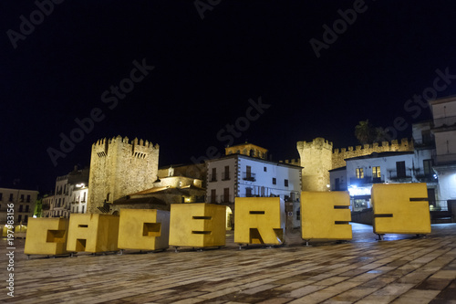 Fotografía letters representing the word caceres on the main square in the city