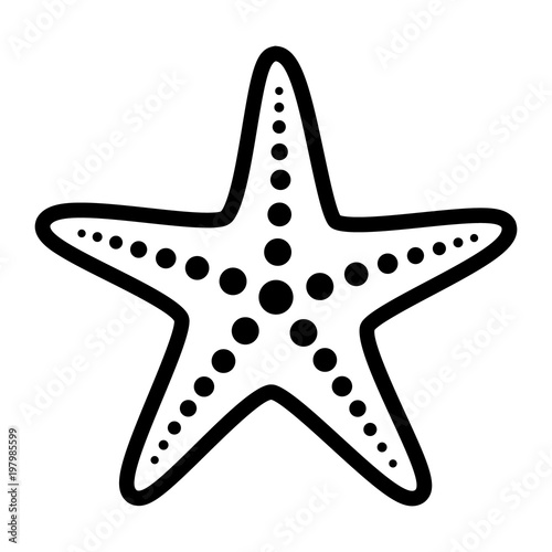 Fotografie, Obraz Common starfish or sea star fish marine life line art vector icon for apps and w