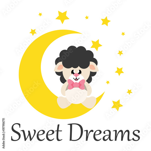 Deurstickers Uilen cartoon cartoon cute sheep black with tie sitting on the moon with text
