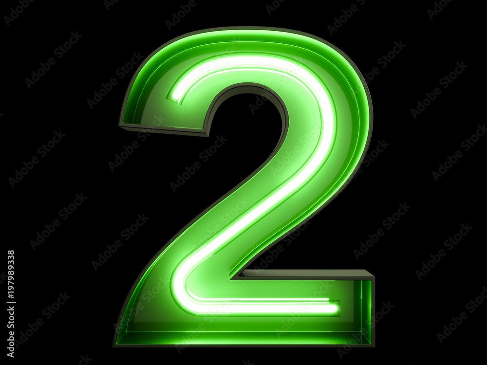 Fototapeta Neon green light digit alphabet character 2 two font