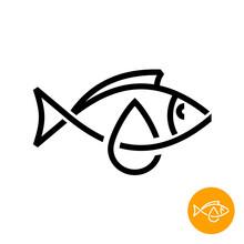 Fish Oil Icon. Black Line Style Cod Liver Oil Sign