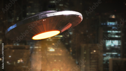 Photo UFO, science fiction scene, alien spaceship from outer space hovering in front o