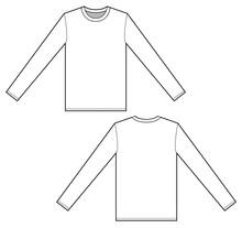 Long Sleeve T-shirt Set Fashion Flat Technical Drawing Template