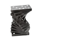 Curved Stack Of Black Wooden D...