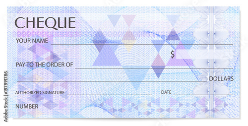 Check (cheque), Chequebook template Canvas-taulu
