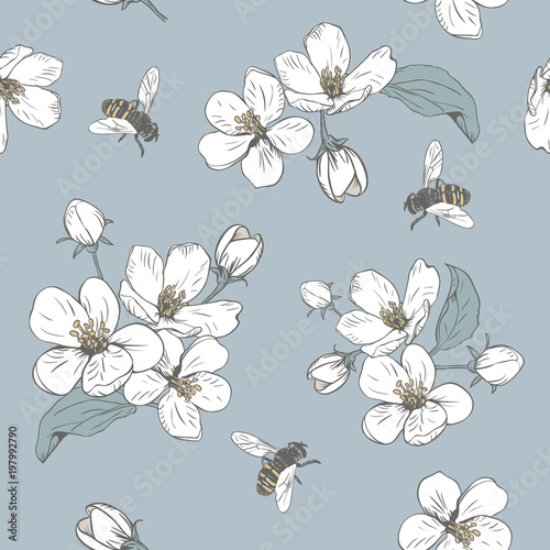 Cotton fabric Blooming tree. Seamless pattern with flowers. Spring floral texture. Hand drawn botanical vector illustration
