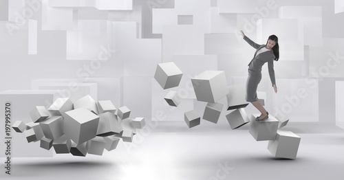 Photo  Woman balancing on geometric surreal cubes