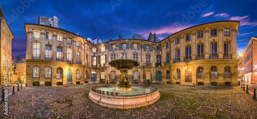 Cadres-photo bureau Fontaine Aix-en-Provence, France. HDR panorama of Place D'Albertas square with old fountain at dusk