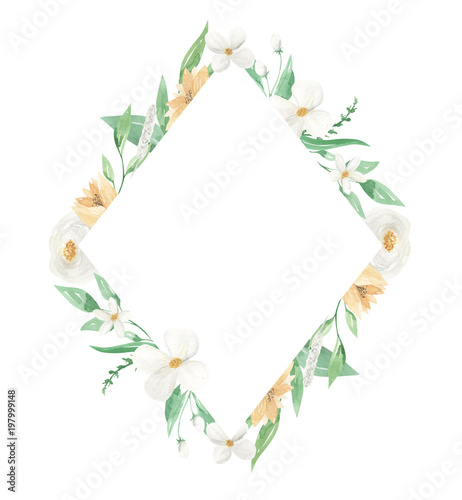 Watercolor Diamond Yellow & white Floral Frames Borders - Buy this ...