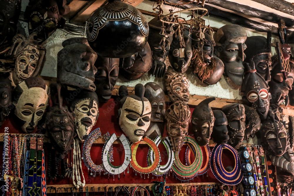Fototapety, obrazy: African masks on the market in Stone Town, Zanzibar, Tanzania