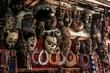 Leinwanddruck Bild - African masks on the market in Stone Town, Zanzibar, Tanzania