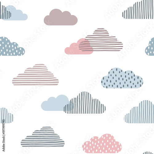 Seamless pattern with doodle clouds in trendy pastel colors