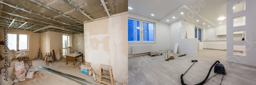 Cuadros en Lienzo Comparison of a room in an apartment before and after renovation new house
