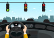 Traffic Lights on Street. Car Interior View with Hands on Steering Wheel. Vector.