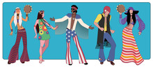 Group Of Five Wearing Hippie Clothes Of The 60s And 70s Dancing