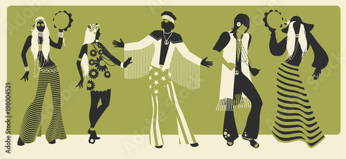 Group of five wearing hippie clothes of the 60s and 70s dancing Tableau sur Toile