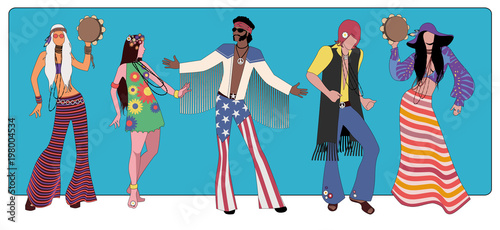 Group of five wearing hippie clothes of the 60s and 70s dancing Wallpaper Mural