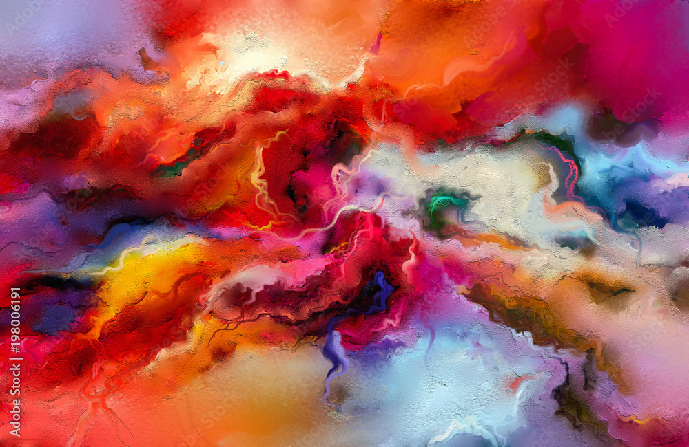 Fototapety, obrazy: Abstract colorful oil painting on canvas texture. Hand drawn brush stroke, oil color paintings background. Modern art oil paintings with yellow, red color. Abstract contemporary art for background