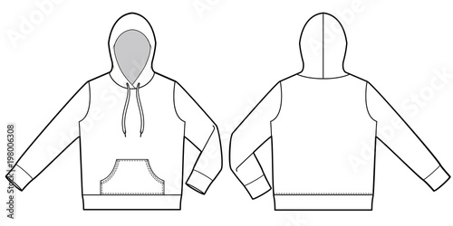 Hood Hoodie Fashion Flat Technical Drawing Template