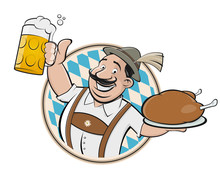 Bavarian Man With Beer And Chi...