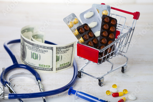 Poster Shopping trolley with pills,money and calculator
