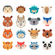 Set of cartoon cute baby animal faces isolated