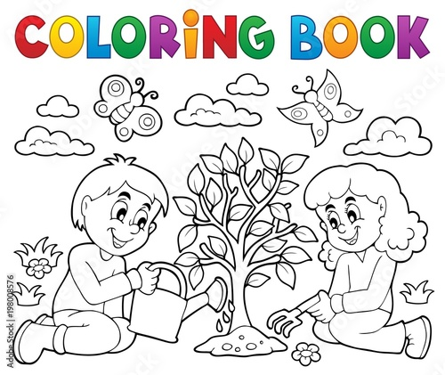 Recess Fitting For Kids Coloring book kids planting tree