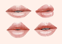 Nude Sensual Juicy Lips Collection. Mouth Set. Vector Lipstick Or Lip Gloss 3d Realistic Illustration. Gentle Pink Dusty Rose Colors