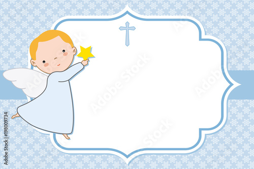 Tableau sur Toile angel boy. Christening or communion card. space for text