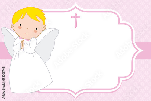 angel girl. Christening or communion card. space for text Fotobehang