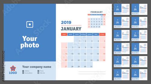 2019 Planner Calendar Vector Sunday Template Wall Desk Table Print