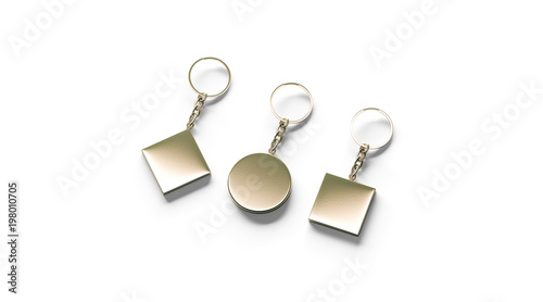 Blank golden key chain mock up side set view, 3d rendering