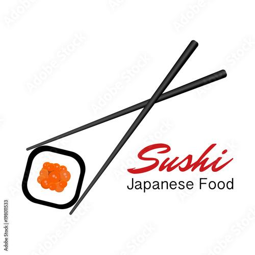 Poster Sushi bar Vector Icon Style Illustration Logo of Asian Street Fast Food Bar or Shop, Sushi, Maki, Onigiri Salmon Roll with Chopsticks, Isolated Minimalistic Object