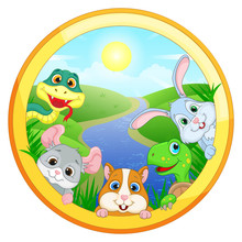 Round Illustration With Pets O...