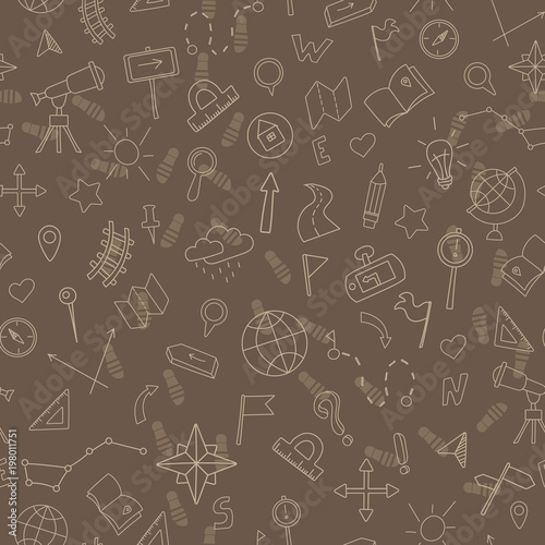 Fotografia  Seamless pattern with hand drawn signs on the theme of geography and travel, bei